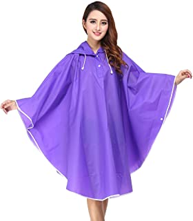 EVA Material Fashion Non Disposable Raincoat Cloak Outdoor Travel Portable Transparent Rainwear Women Men's Hooded Transparent,Purple