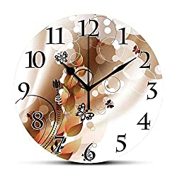 BCWAYGOD Silent Wall Clock,Tan,Spring Themed Abstraction Cute Butterflies Flower Petals and Tulip Leaves,Dark Brown Brown White Non Ticking Wall Clock/Desk Clock for Office Home Decor 9.5 inch