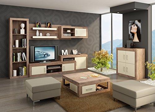 """Wohnzimmer Möbel Satz, TV Wohnwand \""""VERIN 6\"""" Große TV Bank, Bücherregal, Wandhängend Regal mit Vitrinen plus Kleine 4T Kommode und Kaffetisch. Craft Tobaco/Cream."""