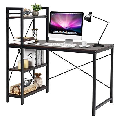 COSTWAY Computertisch mit Regal, Schreibtisch aus Holz, PC Tisch mit Metallrahmen, Bürotisch, Arbeitstisch (Braun)