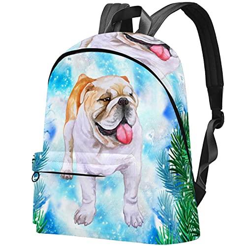 Staroutah zaino bookbag daypack borsa da scuola escursionismo zaino in spalla ad alta capacità e carino all'aperto Impara Bulldog fiocco di neve per donne e uomini