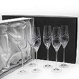 Set de 6 Copas de Cristal para champán   Cava o espumosos   Talladas a Mano   Colección Celebration.