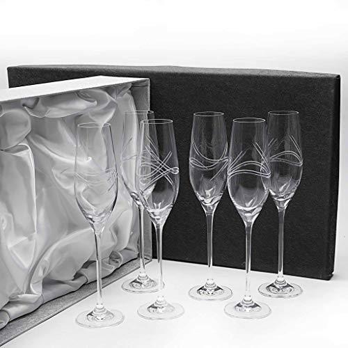 Set de 6 Copas de Cristal para champán - Cava o espumosos - talladas a Mano - colección Celebration.