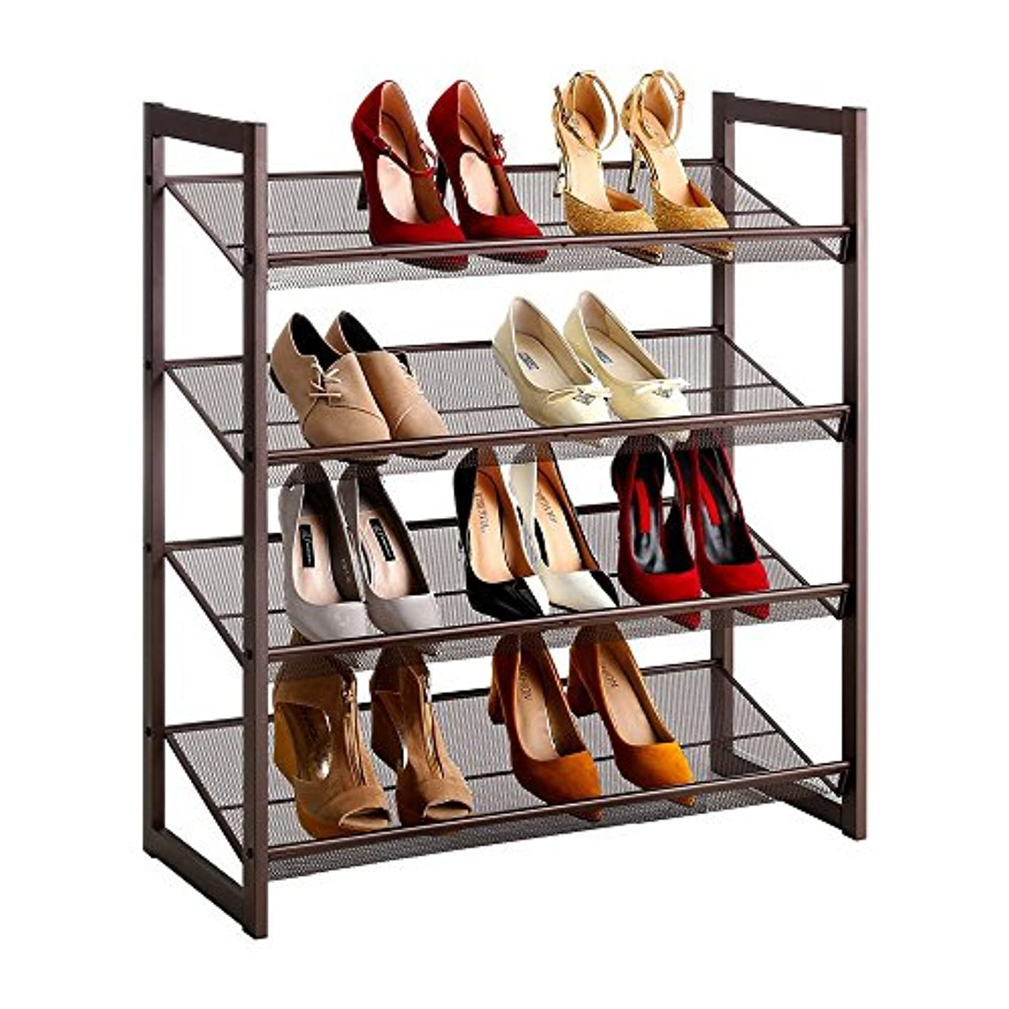 4-Tier Stackable Metal Mesh Shoe Rack Shoe Organizer Shelf Storage Organizer Rack for Closet Bedroom Entryway Chromeplate