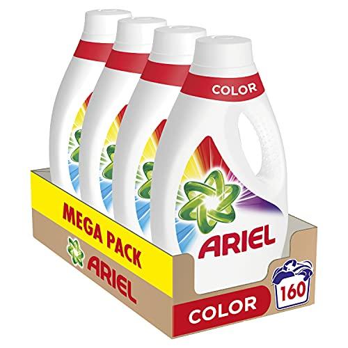 Ariel Detergente Lavadora Líquido, 160 Lavados (Pack 4 x 40), Color y Brillo