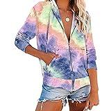 iMixCity Tie-Dye - Sudadera con capucha para mujer, holgada, de punto, informal, ligera, con bolsillos morado L