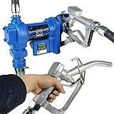 F2C 12 Volt 20GPM Electric Diesel Kerosene Gasoline Fuel Transfer Pump Fillrite Manual Nozzle Hose Kit … Blue