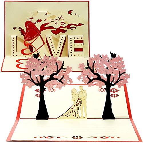 2 Pieces Valentine's Day Card 3D Pop Up Card LOVE Cherry Blossom Greeting Card Valentines Day Wedding Anniversary Card for Wife Husband Couple Girlfriend