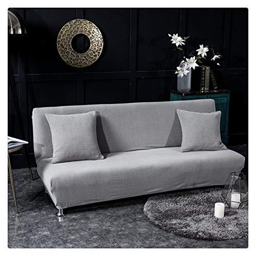 Elastisch Sofabezug ohne armlehnen Klappsofa Überwürfe Sofabezug Elastische voll zusammenklappbare Couch Sofa Schild passt zusammenklappbare Sofa-Bett ohne Armlehnen,Splittergrau,2 Sitzer(160-185CM)