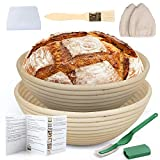 LotFancy Banneton Proofing Basket Set of 2, 9 Inch Round Proofing Bowls for Sourdough Brea...