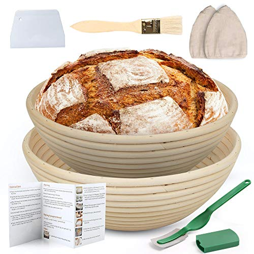 LotFancy Banneton Proofing Basket Set of 2, 9 Inch Round Proofing Bowls for Sourdough Bread, Incudes Linen Liner Cloth, Dough Scraper, Bread Lame, Brush, Instructions Book, Non-Stick