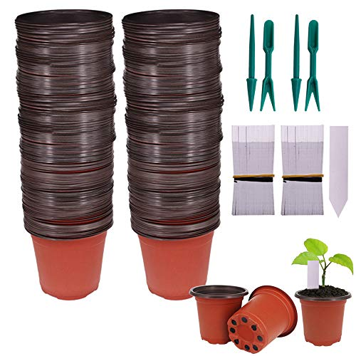 Huvai 200 Pcs 4' Plastic Seedlings Plants Nursery Pots with 200 Pcs Waterproof Plastic Plant Tags and 4 Pcs/ 2 Set Transplanting Digging Mini Tools