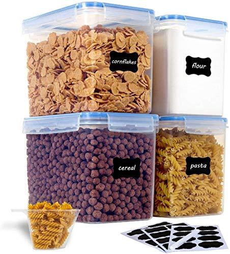 Vtopmart 3.6L Vorratsdosen Set, Müsli Schüttdose & Frischhaltedosen, BPA frei Kunststoff Vorratsdosen luftdicht, Satz mit 4, 24 Etiketten für Getreide, Mehl, Zucker usw (Blau)