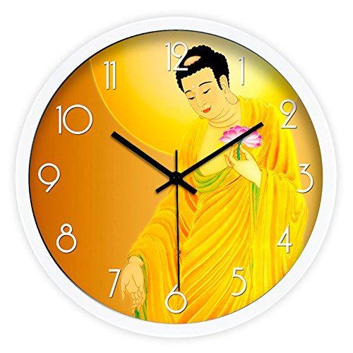 Kreative chinesische Buddhistische Buddha Wohnzimmer mute Schautafeln Wecker 16 Zoll.