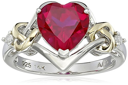 Sterling Silver and 14k Yellow Gold Diamond and Heart-Shaped Created Ruby Ring (0.03 cttw, I-J Color, I3 Clarity), Size 9