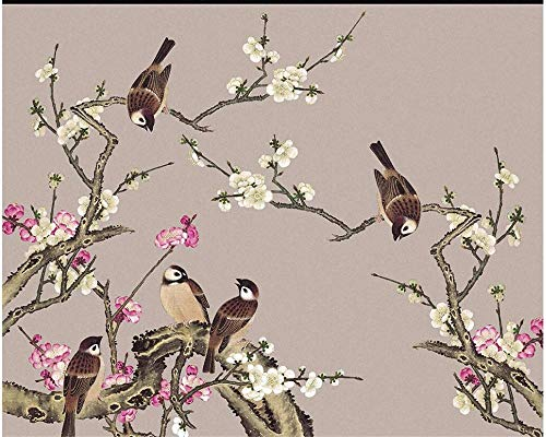 Custom Photo Wallpapers Highland Tinker Peach Blossom House and Everything Hing Flower Birds Backdrop