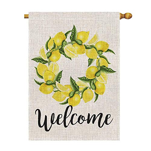 Welcome Lemon Wreath Large House Flag Vertical Double Sided 28 x 40 Inch Summer Burlap Yard Outdoor Decor