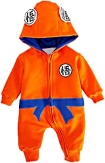 Thickened Flannel Baby Boys Jumpsuits Rompers, Anime Cartoon Dragon Ball Z Hooded Onesie Overalls for 0-2 Y Toddlers