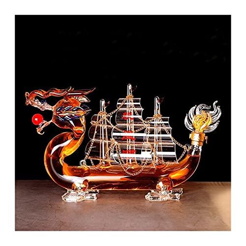 AIEL Reutilizable Whiskey Decanter Glassware Adornos Libre de Plomo 1000ml Decoración de Vino Decoración clásico Chino Dragón Estilo de Barco Diseño para Licor Scotch Borbon 8.3