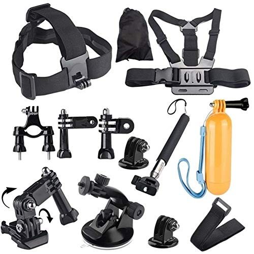 Ping.Feng Action Video Cameras Accessory Set for Gopro Hero 8/7/5/6/4/3+3 for H9R F60R W9R Yi 4K SJ4000 SJ6 SJ7 with Head Strap Floating Stick Camera Stand (Colour : SPT kit04)