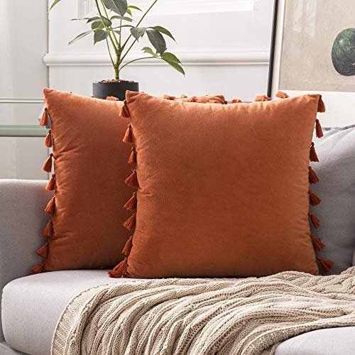 MIULEE Pack of 2 Velvet Soft Solid Decorative Throw Pillow Cover with Tassels Fringe Boho Accent Cushion Case for Couch Sofa Bed 20 x 20 Inch Orange
