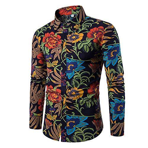 camicia donna hawaiana manica lunga Camicia Elegante da Uomo Shirt Elegante a Maniche Lunghe in Lino Stampato Camicia Casual Fantasia Floreale Tops Pattern Unico cs9 M