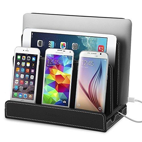 EasyAcc Ladestation Ladedock für diverse Geräte aus schwarzem PU Leder für iPhone 6s / 6s Plus, iPad Mini 4, iPad Air 2, Samsung Galaxy S6 / S6 Edge, Samsung Galaxy Tab A 9.7, MacBook Air, Smartphones & Tablets