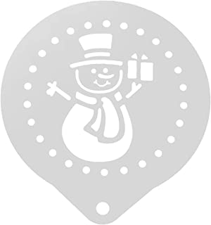 UPKOCH Stainless Steel Coffee Decorating Stencil Baking Template for Latte Cappuccino Cupcake Cookie Hollow Snowman Barista Tool Silver