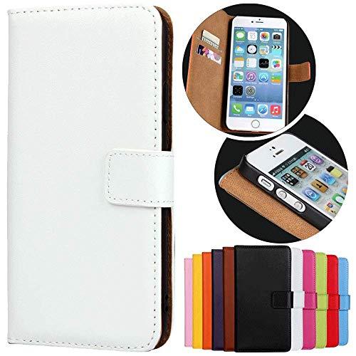 Roar Handy Hülle für Motorola Moto G (G2, 2.Generation), Handyhülle Weiß, Tasche Handytasche Schutzhülle, Kartenfach & Magnet-Verschluss