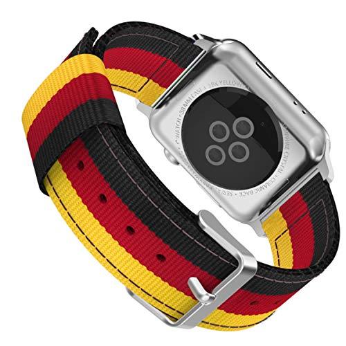 ESTUYOYA - Pulsera de Nailon Compatible con Apple Watch Colores Bandera de Alemania Ajustable Deportiva Casual Elegante para 42mm 44mm Series 6/5 / 4/3 / 2/1 / SE/Nike+