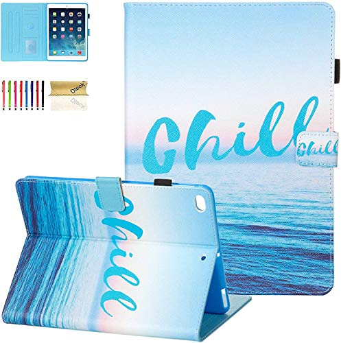 Dteck iPad 9.7' Case Cover for Apple iPad 6th 5th Gen/iPad Air 1 2, PU Leather Slim Auto Sleep Wake Shockproof Kickstand Pencil Holder Case for Apple iPad 9.7' 2018/2017 / iPad Air 1 2, Chill
