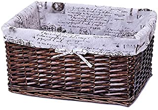 KTYX Panier Tissé,Basket Panier De Rangement en Osier Tissé À La Main, Doublure en Coton Respirant Et Résistant, Armoire D...