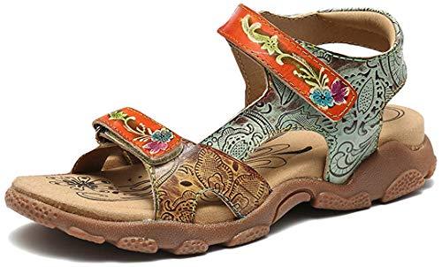 Camfosy Sandales de Sports Femmes Cuir, Chaussures Randonnée Été Plates en Cuir à Talons Plats Confort Bout Ouvert Originales pour Pieds Larges Marche Trekking Bleu