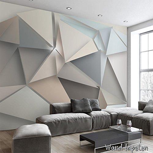 VLIES FOTOTAPETEN - WANDTAPETEN WANDBILDER 3D-DREIECK MODERNE IKEA-STIL KN-1901 (XXL 400cm(B) x 280cm(H) 8-Bahne)