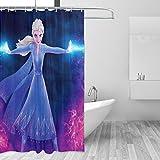 Die Eiskönigin Elsa Duschvorhang Wasserdicht Badezimmer Vorhang Waschbar Badvorhang Polyestergewebe Badezimmer Duschvorhang-Set 3D Duschvorhänge für Badezimmer mit Haken, 167,6 x 182,9 cm