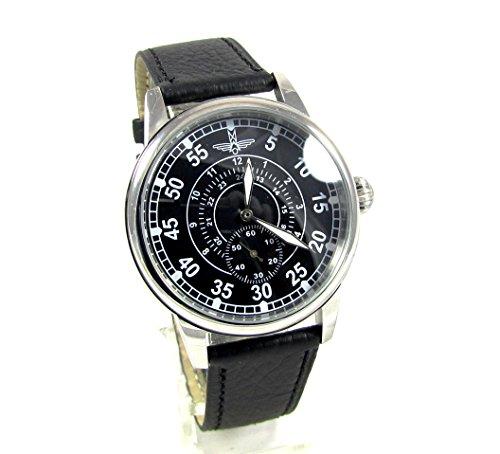 Military Pobeda Aviator Mens Vintage Limited Edition Wrist Watch Vintage 1960s USSR Rare Mens Gift (Black)