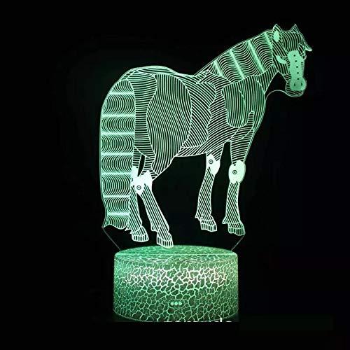 Hermoso animal caballo blanco creativo acrílico multicolor luz led luz nocturna luz visual 3D dormitorio, decoración de la habitación lámpara de mesa pequeña