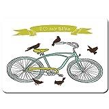 Antideslizante Alfombra De Baño,Amo el Concepto de mi Bicicleta con pájaros en el Seat Cruisers Vehículo básico Arte simplista,Alfombra de Cocina Alfombra Mascota,Alfombras de Ducha 80x60cm