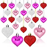 Elcoho 24 Pieces Valentine's Day Heart Baubles Ornaments Heart Shaped Decoration Baubles for Valentine's Day Decoration, 2 Styles (Glossy, Glitter)