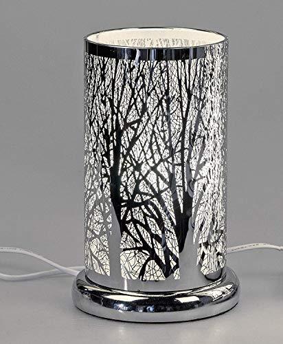 Lampe rund mit Touch-Funktion und Baumdekor 15x24cm aus glänzendem Edelstahl