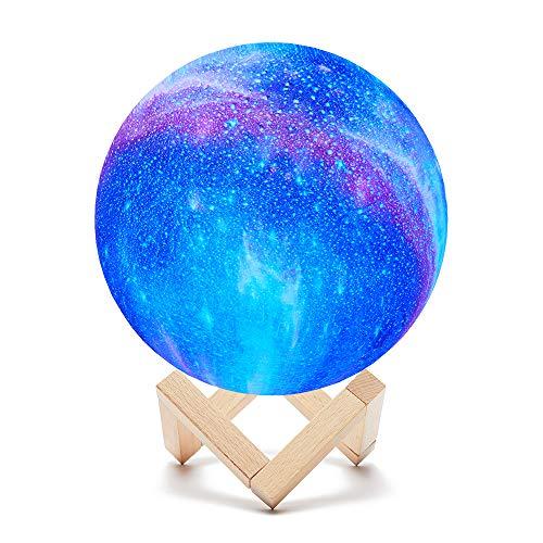 Lámpara Luna, 15cm 16 colores LED 3D cielo estrellado Lámpara Luna con control remoto y control táctil y carga USB, dormitorio, amantes de la fiesta de cumpleaños de la luz de la noche de los niños