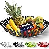 Mueller Fruit Basket, Decorative Fruit Bowl, Fruit and Vegetables Holder for Counters, Kitchen, Countertop, Home Decor, European Made, Black
