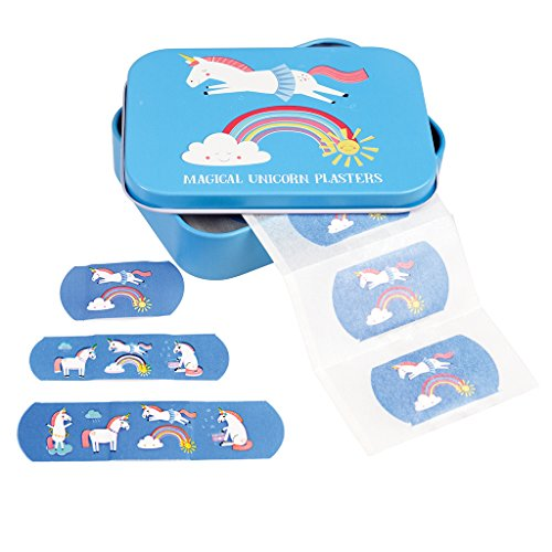 Kinderpflaster in schöner Aufbewahrungsdose für die Wickeltasche Handtasche Schulzanzen oder Kindergartentasche I 30 Pflaster I Motiv (Einhorn)