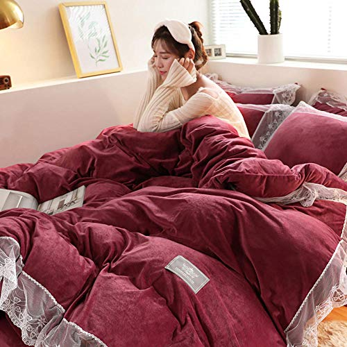 Thick Warm Flannel Duvet Cover,Coral velvet four-piece winter milk velvet double-sided plus velvet baby velvet bed sheet duvet cover flannel-Alyssa Burgundy-Upgrading encryption is not easy to shed