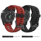 MoKo Pulsera Compatible con Fenix 3/3 HR/5X/5X Plus/D2 Delta PX/Tactix Bravo/Descent Mk1/Quatix 3, [2 Pzs] Correa de Silicona Respirable y Reemplazable, Banda de Reloj Deportivo - Negro & Rojo Oscuro