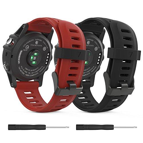 MoKo Pulsera para Garmin 3/3 HR/Fenix 5X/5X Plus/D2 Delta PX, [2 Pzs] Correa Pulsera de Silicona Respirable y Reemplazable, Banda de Reloj Deportivo con Cierre - Negro & Rojo Oscuro