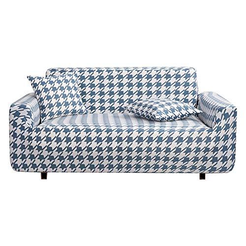 B/H poliéster y Elastano Funda sofá,Funda de sofá con Todo Incluido, Funda de sofá de Tela a Cuadros-Blue_235-310cm,elástico elástico extraíble Cubierta