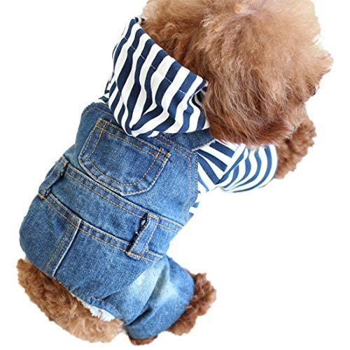 Hundeshirt Kleine Hunde Hemd Jeans Overall Vier-Beine Bekleidung Bequeme Denim Latzhose Hundekostüm T-Shirt Kapuzeshirt Haustier Jumpsuit für Welpen...