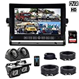 DOUXURY Backup Camera System, 4 Split Screen 7'' Quad View Display HD Monitor with DVR Recording Function,...