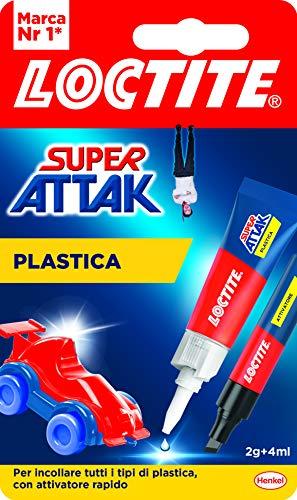 Loctite Super Attak Plastica, colla per plastica istantanea in cianoacrilato, tubetto di colla liquida trasparente specifica per tutti i tipi di plastica, con attivatore, 2g+4ml